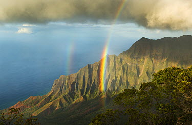 Rainbow over cliffs, Kalalau Valley, Na Pali Coast State Park, Kauai, Hawaii  -  Kevin Schafer