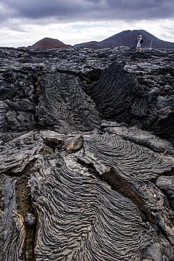 Pahoehoe lava formations, Sullivan Bay, Santiago Island, Galapagos Islands, Ecuador  -  Pete Oxford