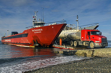 Docked ferry boat, Strait of Magellan, Tierra Del Fuego, Chile  -  Pete Oxford