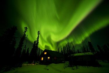 Aurora borealis over house, Alaska