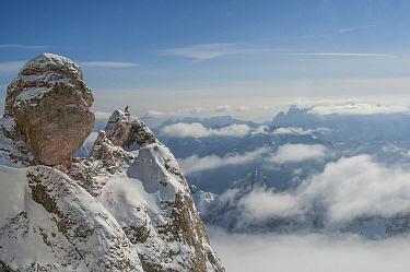 Snow-covered mountain peak, Dolomites, Italy