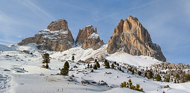 Snow-covered mountains, Dolomites, Italy