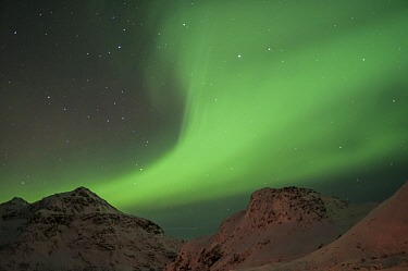 Northern lights above mountains, Lofoten Islands, Nordland, Norway