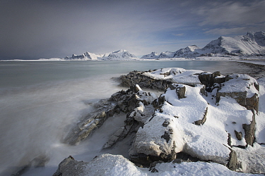 Snow-covered beach, Lofoten Islands, Nordland, Norway