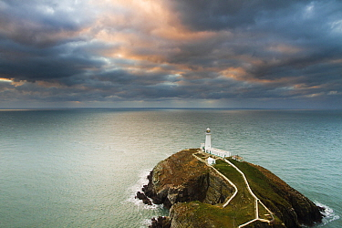 Lighthouse and storm clouds, South Stack Lighthouse, Anglesey, Wales