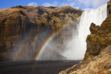 Rainbows near waterfall, Skogafoss Waterfall, Iceland
