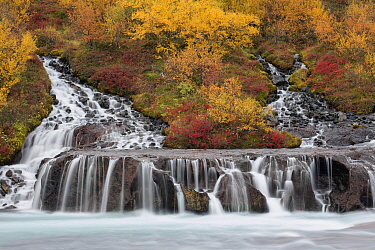 Waterfalls flowing into Hvita River in autumn, Hraunfossar, Iceland