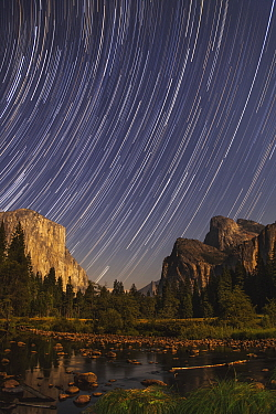 Star Trails over El Capitan at night, Yosemite Valley, Yosemite National Park, California
