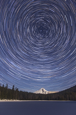 Star trails over Mount Hood and Frog Lake, Mount Hood National Forest, Oregon