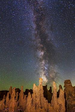 Milky Way and tufas towers at night, Mono Lake, California