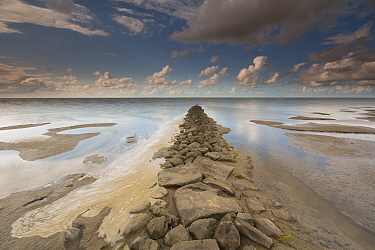 Rock jetty at low tide, Wadden Sea, Friesland, Netherlands