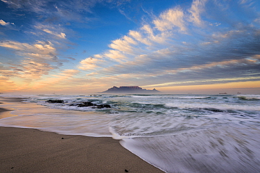 Sunrise over the Table Bay,looking toward Table Mountain, Cape Town, South Africa