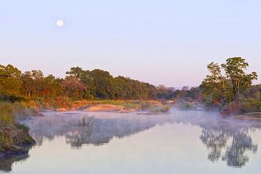 Moon and mist over Sabie River at dawn, Kruger National Park, South Africa