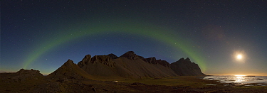 Northern lights over mountain, Vestrahorn Mountain, Iceland