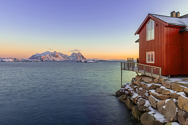 Red cabin and fjords, Lofoten Islands, Nordland, Norway