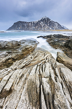 Rocks and fjord, Flakstad Beach, Lofoten Islands, Nordland, Norway