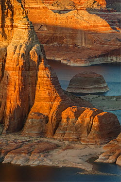 Lake and rock formation, Alstrom Point, Lake Powell, Glen Canyon National Recreation Area, Utah  -  Jeff Foott