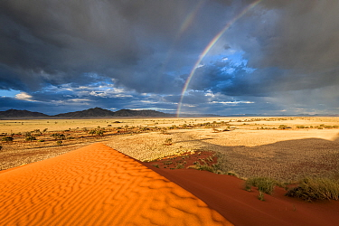 Storm with rainbows over sand dunes, Namibia