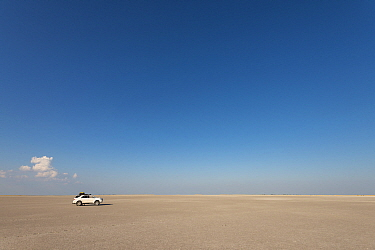 Car on plain, Makgadikgadi Pans, Botswana