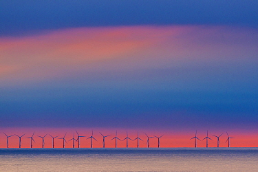 Wind turbines in ocean, North Sea, Netherlands