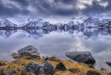Fjord and snow-capped mountains, Lofoten, Norway
