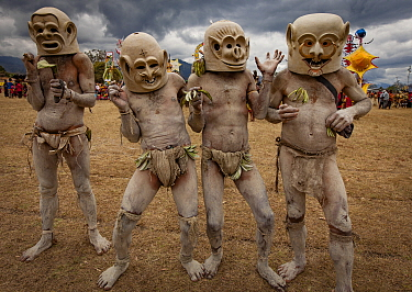 Mudmen during a sing-sing, Goroka Show, Goroka, Eastern Highlands, Papua New Guinea