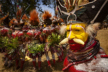 Huli men in ritual make-up and traditional clothing dancing during a sing-sing, Goroka Show, Goroka, Eastern Highlands, Papua New Guinea