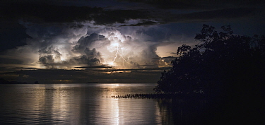 Lightning and storm clouds, Togian Islands, Sulawesi, Indonesia