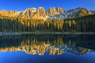Lake and mountain range, Karersee, Trentino, Italy  -  Ronald Camphius