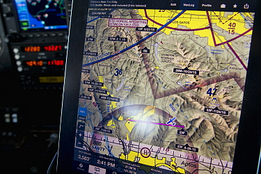 Mountain Lion (Puma concolor) tracking points displayed on gps with location of airplane used for aerial telemetry, Santa Cruz Puma Project, Santa Cruz Mountains, California