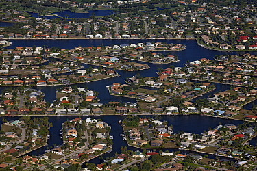 Buildings on artificial islands and canals, Marco Island, Florida