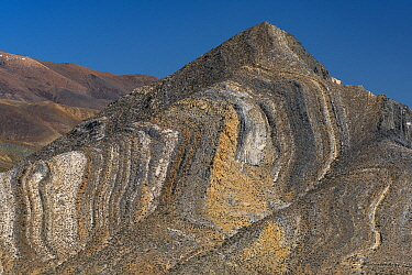 Butte showing sedimentary layers, Death Valley National Park, California