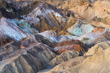 Artist's Pallet showing various colors caused by oxidizing metal in the soil, Death Valley National Park, California