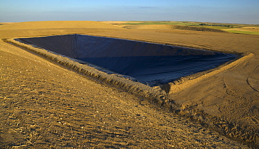 Toxic water evaporation pit lined with plastic,  Williston Basin, North Dakota