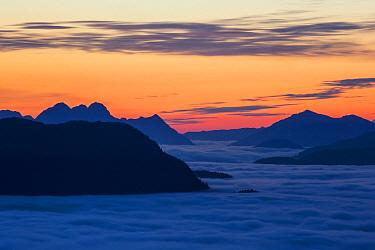 Peaks rising above fog, Neva Strait, Sitka, Alaska