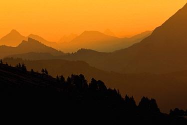 Mountain ranges at sunrise, Niederhorn, Switzerland