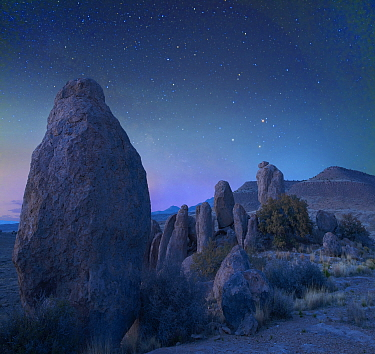 Rock formations at night, City of Rocks State Park, New Mexico