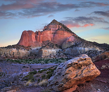 Mountain at sunrise, Pyramid Mountain, Red Rock State Park, New Mexico
