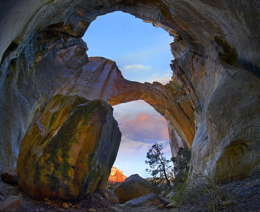 Rock arch at sunrise, La Ventana Arch, El Malpais National Monument, New Mexico