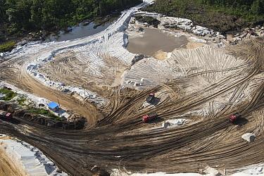 Trucks in gold mine, Guyana
