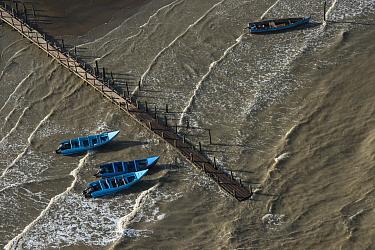Fishing boats on coast, Guyana