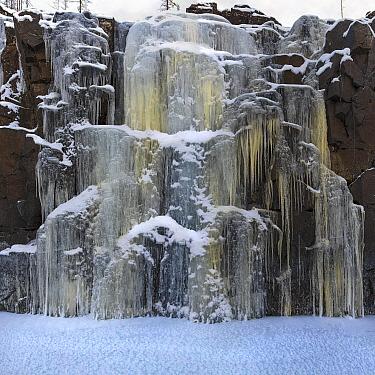 Frozen waterfall, Putoransky State Nature Reserve, Putorana Plateau, Siberia, Russia