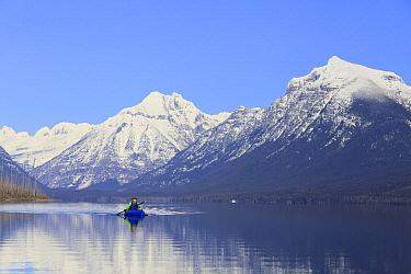 Kayaker on lake, Lake McDonald, Glacier National Park, Montana