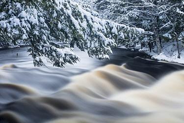 River in winter, Mersey River, Kejimkujik National Park, Nova Scotia, Canada
