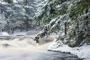 Waterfall and river in winter, Mersey River, Kejimkujik National Park, Nova Scotia, Canada