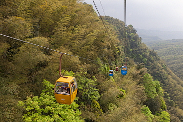 Gondola with tourists, Shunan Zhuhai National Park, Sichuan, China