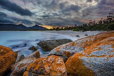 Orange lichen covered rocks along coast, Wineglass Bay, Freycinet National Park, Tasmania, Australia