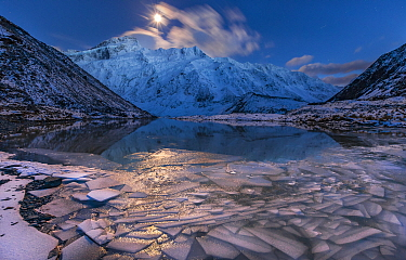 Moonset over peak, Mount Sefton, Mueller Glacier Lake, Mount Cook National Park, South Island, New Zealand