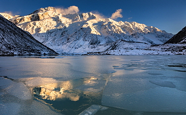 Peaks at sunrise, Mount Sefton, Mueller Glacier Lake, Mount Cook National Park, South Island, New Zealand