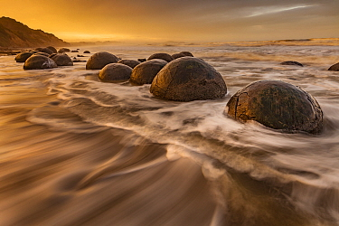 Boulders on beach, Moeraki Beach, Otago, South Island, New Zealand